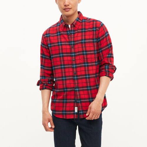 Roots-Winter Sale Tops-Manning Flannel Shirt-Sage Red-A
