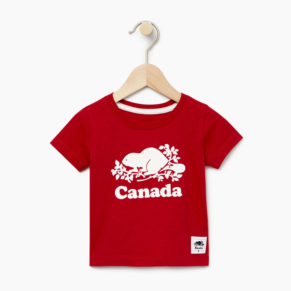 Roots-Kids New Arrivals-Baby Canada T-shirt-Sage Red-A