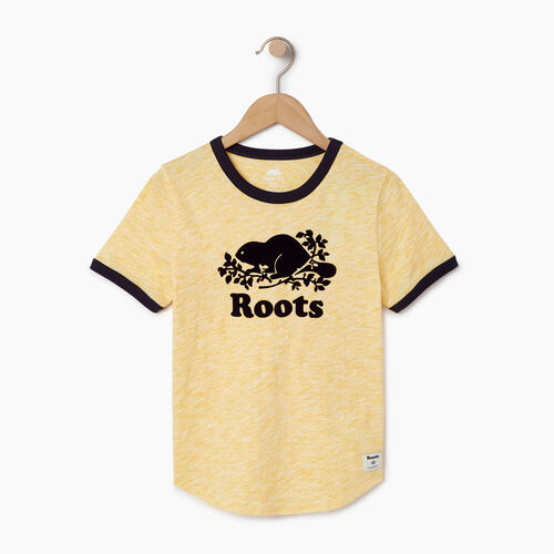 Roots-Clearance Kids-Boys Roots Space Dye T-shirt-Sunset Yellow-A