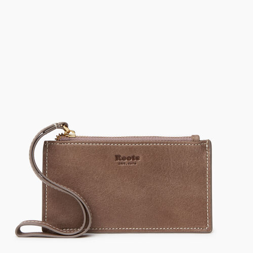 Roots-Women Leather Accessories-Medium Card Wristlet-Fawn-A