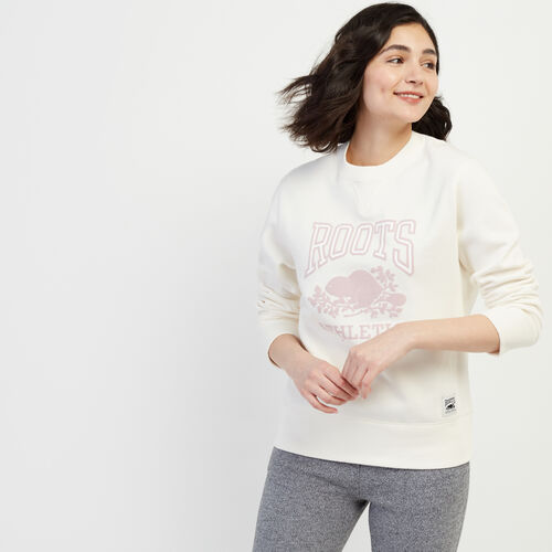 Roots-Women Categories-RBA Boyfriend Crew Sweatshirt-Egret-A