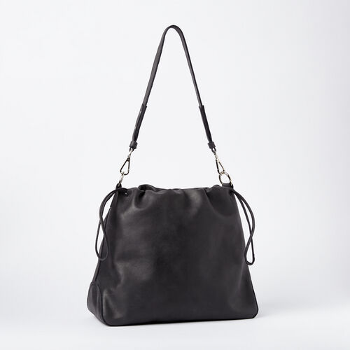 Roots-Women Shoulder Bags-Drawstring Hobo Tribe-Jet Black-A