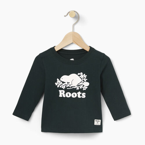 Roots-Winter Sale Baby-Baby Original Cooper Beaver T-shirt-Varsity Green-A
