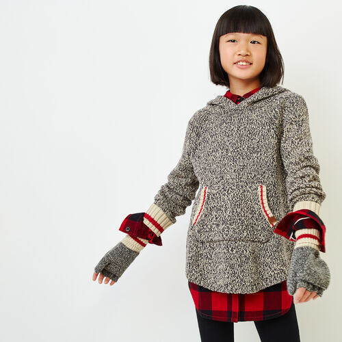 Roots-Kids Our Favourite New Arrivals-Girls Roots Cabin Swing Hoody-Grey Oat Mix-A