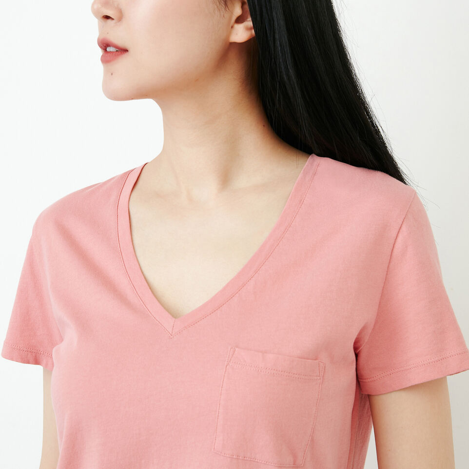 Roots-Women Our Favourite New Arrivals-Essential V T-shirt-Sunset Apricot-E