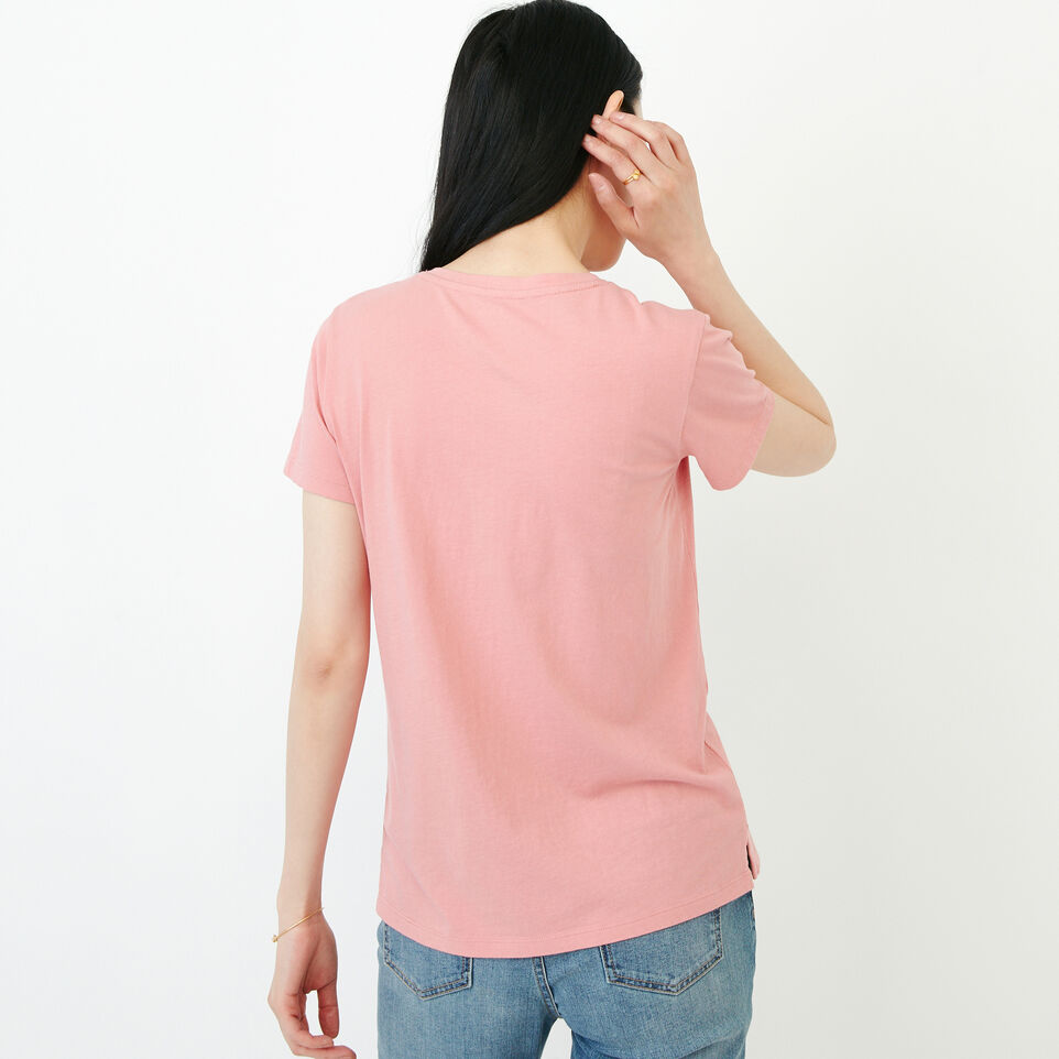 Roots-Women Our Favourite New Arrivals-Essential V T-shirt-Sunset Apricot-D