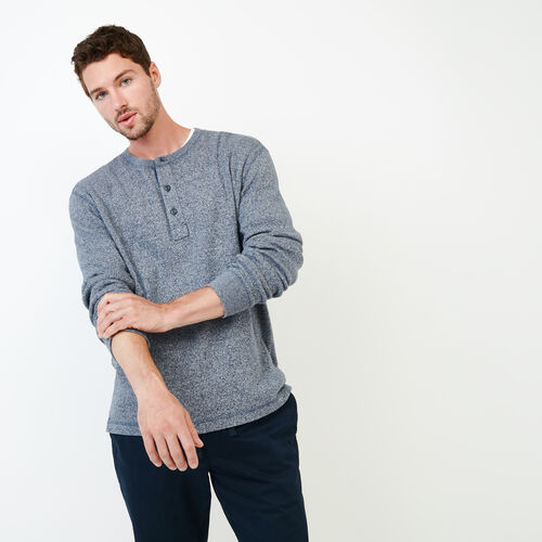 Roots-Men Long Sleeve Tops-Killarney Pepper Henley-Navy Blazer Pepper-A
