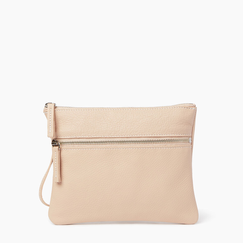 Roots-Leather Our Favourite New Arrivals-Double Zip Wristlet-Pink Mist-A