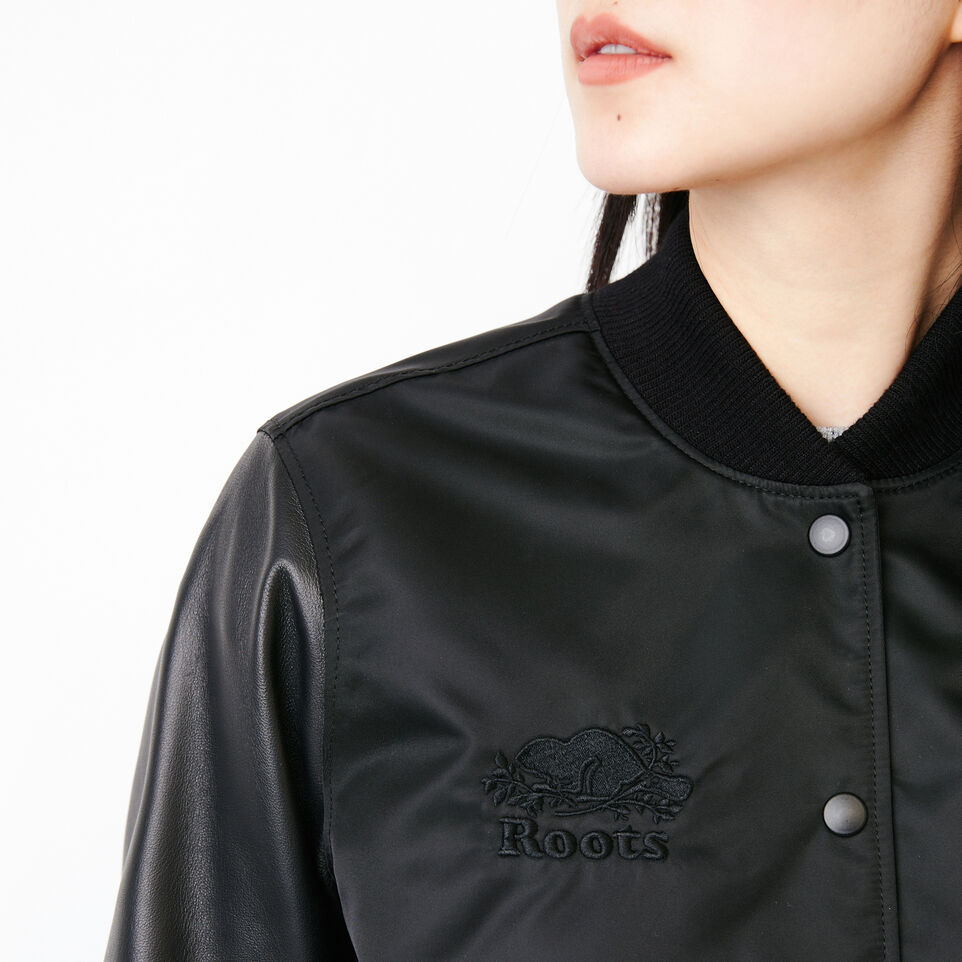 Roots-Leather Categories-Retro Varsity Jacket-Black-E