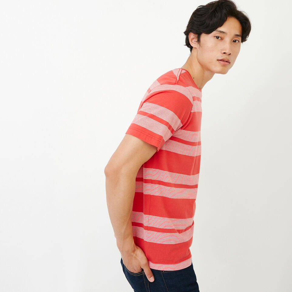 Roots-New For August Men-Mercer Striped T-shirt-Chrysanthemum-C