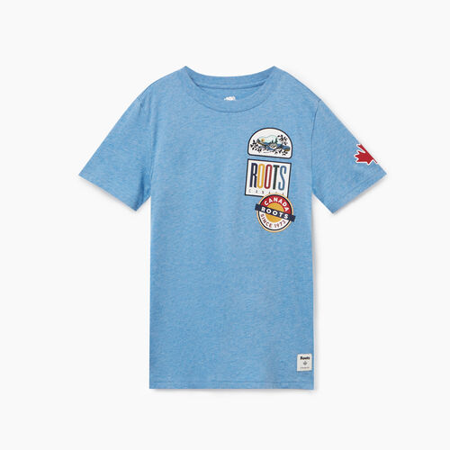 Roots-Kids Tops-Boys Camp Patch T-shirt-Federal Blue Mix-A