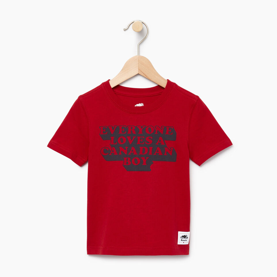 Roots-Kids Canada Collection-Toddler Canadian Boy T-shirt-Sage Red-A
