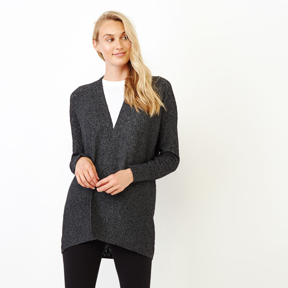 Roots-Women Categories-Snowy Fox Open Cardigan-Black Fox-A