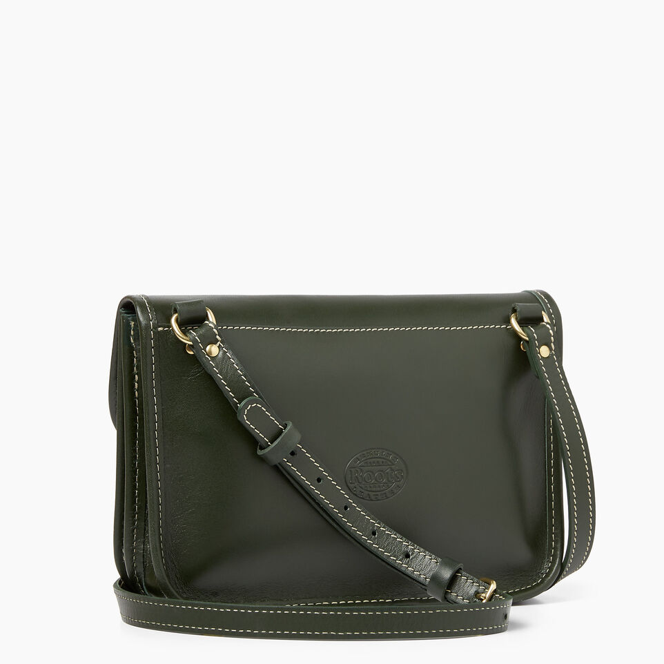 Roots-Clearance Leather-Sandys Bag Heritage-Hunter Green-C