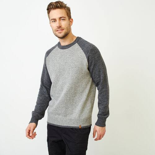 Roots-Men Tops-Montclair Raglan Crew Sweater-Medium Grey Mix-A