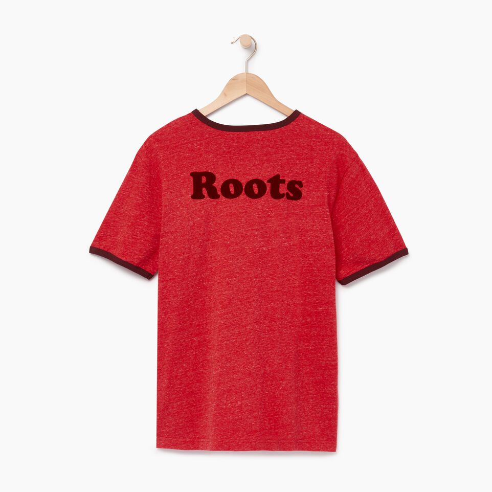 Roots-Men Graphic T-shirts-Mens Roots Cabin Ringer T-shirt-Sage Red Mix-B