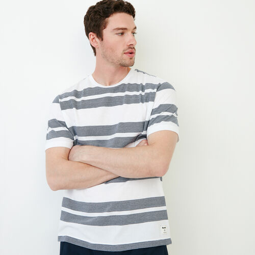Roots-Clearance Men-Mercer Striped T-shirt-White-A