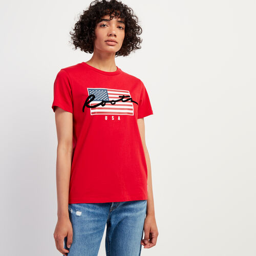Roots-Sale Tops-Womens Script USA T-shirt-Sage Red-A