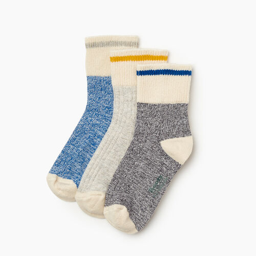 Roots-Kids Accessories-Kids Cotton Cabin Ankle Sock 3 Pack-Blue-A