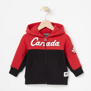 Roots-Kids Canada Collection-Baby Heritage Script Full Zip Hoody-Sage Red-A