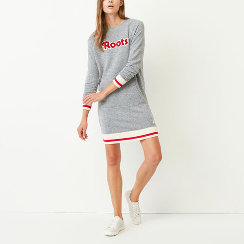 Roots-New For October Sweats-Roots Cabin Cozy Dress-Salt & Pepper-A