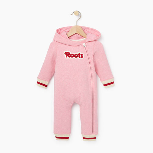 Roots-Clearance Baby-Baby Roots Cabin Romper-Sea Pink Mix-A