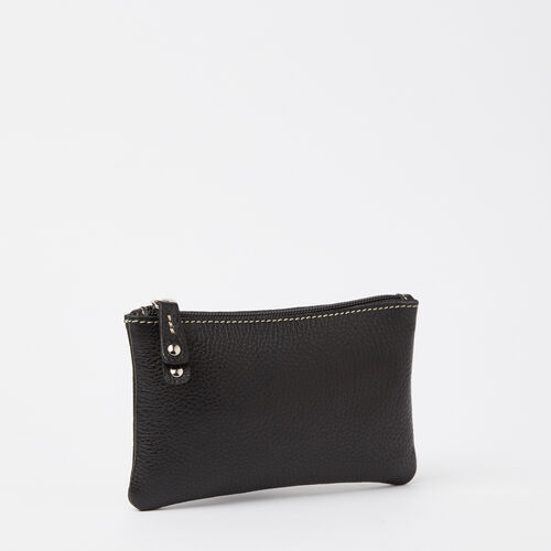 Roots-Leather Leather Pouches-Medium Zip Pouch Prince-Black-A