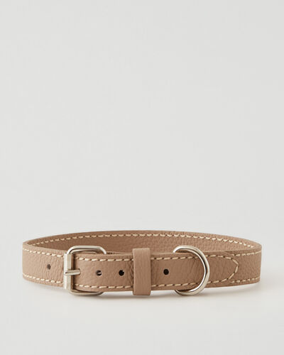 Roots-Leather Dog Accessories-Large Leather Dog Collar Parisian-Latté-A