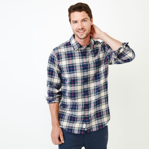 Roots-Men Shirts & Polos-Bromont Plaid Shirt-Navy Blazer-A