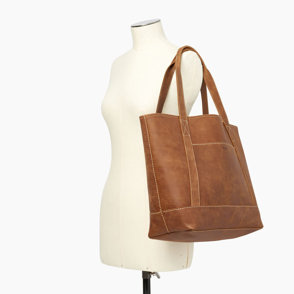 Roots-Leather  Handcrafted By Us Handbags-Muskoka Tote-Natural-B
