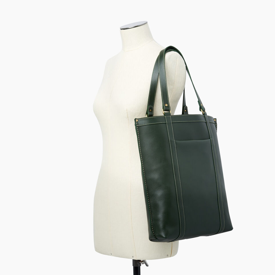 Roots-Winter Sale Leather-Market Tote Heritage-Hunter Green-B