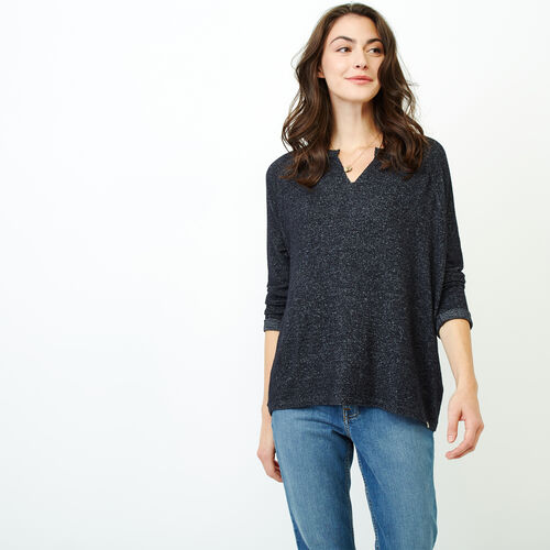 Roots-Women Long Sleeve Tops-Crawford Top-Black Mix-A