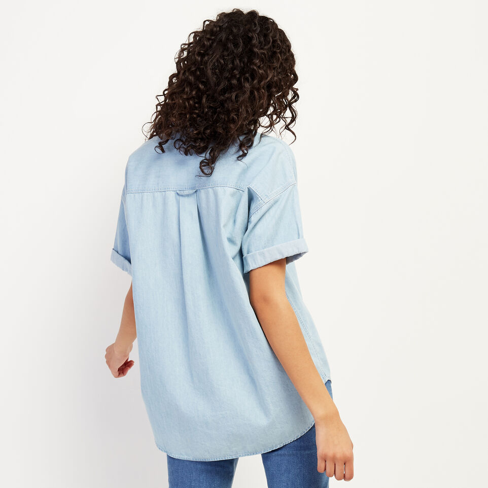 Roots-Women Clothing-Clermont Chambray Shirt-Chambray Blue-D