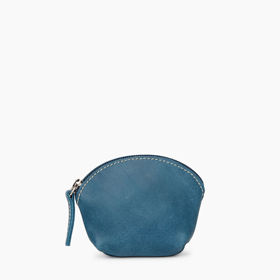 Roots-Leather Categories-Small Euro Pouch-Teal Green-A