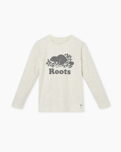 Roots-Kids T-shirts-Boys Original Cooper Beaver T-shirt-White Grey Mix-A