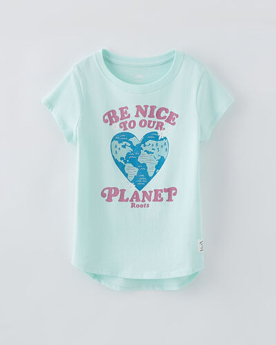 Roots-Kids Girls-Girls Be Nice T-shirt-Bleached Aqua-A