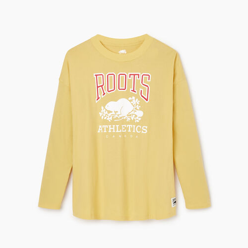 Roots-New For February Rba Collection-Womens RBA Long Sleeve T-shirt-Canary Yellow-A