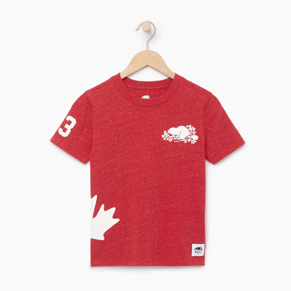 Roots-Kids New Arrivals-Boys Bedford T-shirt-Sage Red Mix-A