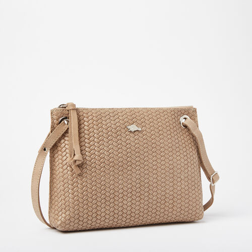 Roots-Leather Handbags-Edie Bag Woven Tribe-Sand-A