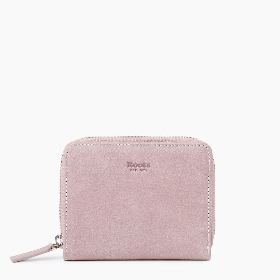 Roots-Leather New Arrivals-Small Zip Wallet Tribe-Woodrose-A