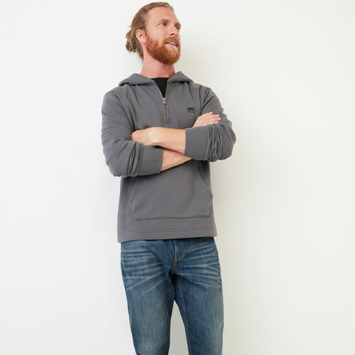 Roots-Clearance Men-Junction Half Zip Hoody-Castlerock-A