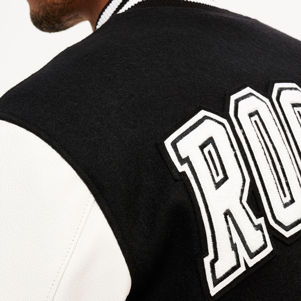 Roots-Leather  Handcrafted By Us Award Jackets-Vintage Award Jacket-Black & White-E