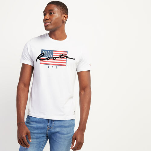 Roots-Sale Tops-Mens Script USA T-shirt-White-A