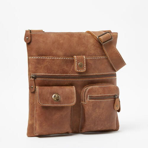 Roots-Leather Roots Original Flat Bags-Venetian Village Tribe-Natural-A