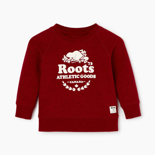 Roots-Kids Baby Girl-Baby Laurel Crewneck Sweatshirt-Cabin Red Mix-A