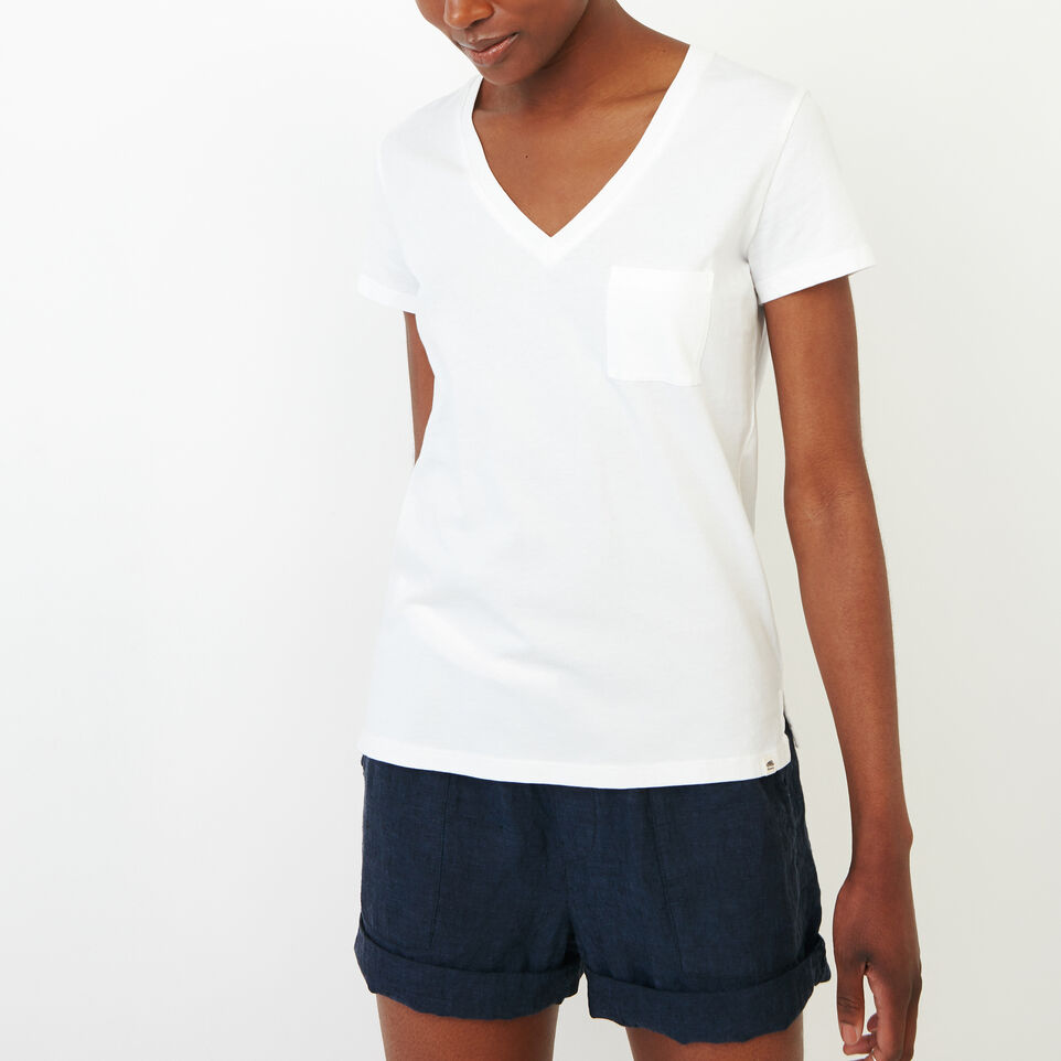Roots-New For August Women-Essential V T-shirt-Ivory-A