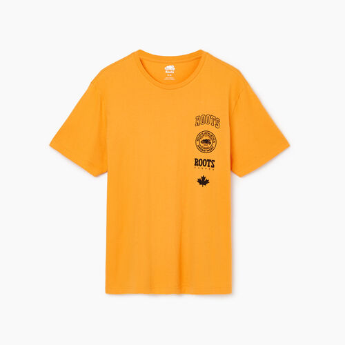 Roots-Clearance Tops-Mens Stamps T-shirt-Squash Yellow-A