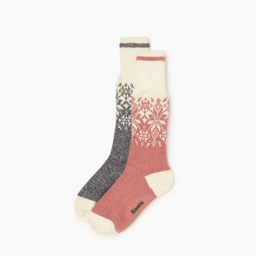 Roots-Women Categories-Roots Elsa Cabin Sock 2 Pack-Pink-A