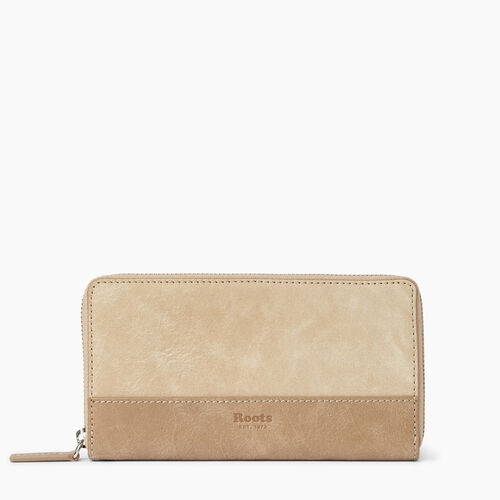 Roots-Leather  Handcrafted By Us Wallets-Zip Around Wallet-Sand/latté-A
