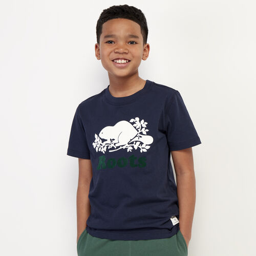 Roots-Kids New Arrivals-Boys Original Cooper Beaver T-shirt-Navy Blazer-A